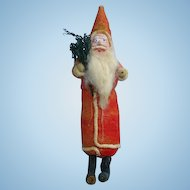 Antique Spun Cotton Santa Claus Christmas Ornament Holding Tree 7.5 in