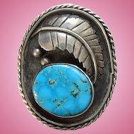 Old Dawson Numkena Navajo Large Turquoise Ring Size 7 3/4 Beautiful Stone Sterling Silver Signed