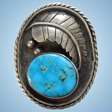 Old Dawson Numkena Navajo Large Turquoise Ring Size 7 3/4 Beautiful Stone Sterling Silver Signed