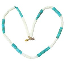 Vintage Turquoise and Shell Heishi Bead Southwestern Necklace 17 Inch