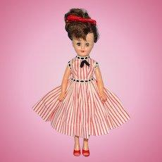 Vogue Vinyl Jan Doll Brunette Ponytail in Orange Striped Cotton Dress Jill Friend 1950s