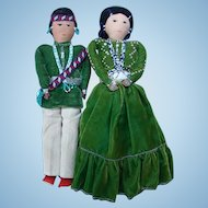 Vintage Souvenir Cloth Doll Navajo Indian Pair Wearing Bead Jewelry 18 Inch