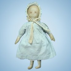 Antique Primitive Painted Face Cloth Rag Doll in Blue Check Dress 15 Inch