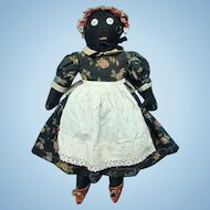 Antique Primitive Black Cloth Rag Doll Embroidered Features Black Calico Dress