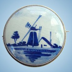 Vintage Signed Delft Porcelain 835 Silver Brooch Pin Dutch Holland Windmill