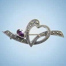 Old Amethyst and Marcasite Heart Shape 925 Sterling Bar Pin Signed CW Conjoined