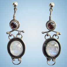 Vintage Moonstone and Garnet Dangle Pierced Post Earrings 925 Sterling Silver