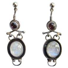Vintage Moonstone and Garnet Dangle Pierced Post Earrings 925 Sterling Silver