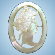 Antique Carved Mother Of Pearl Cameo Brooch Signed Sterling Silver