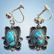 Vintage Southwestern Turquoise Nugget and Sterling Silver Screw Back Dangle Earrings