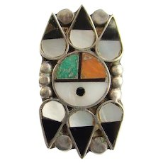 Vintage Zuni Native American Turquoise Sunface Ring Size 6 1/2 MOP Coral Turquoise Onyx Inlay