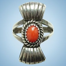 Vintage Southwestern Coral and Sterling Silver Ring Size 6 1/2