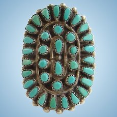 Vintage Zuni Petit Point Turquoise Cluster Saddle Ring Size 7 1/2 Sterling Silver