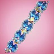 Juliana Sapphire Blue Rhinestone 5 link Bracelet Silvertone Setting DeLizza Elster