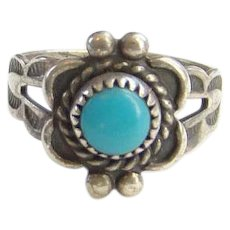 Bell Trading Post Navajo CHILD Turquoise Ring Size 3 Fred Harvey Era Signed