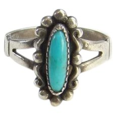 Bell Trading Post Navajo Signed Turquoise and Sterling Ring Size 7 Fred Harvey Era Native American