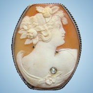 Antique Sterling Silver Large Carved Shell Cameo Brooch With Marcasites Paste Stone