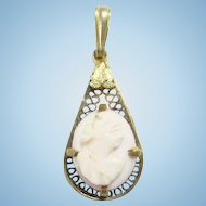 Antique Pink Carved Conch Shell Cameo Necklace Pendant Filigree Gilt Teardrop Setting