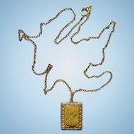 Antique Carved Lava Cameo Pendant Necklace Decorated Gold Wash Rectangle Setting