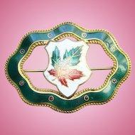 Old Cloissonne Enamel Framed Leaf Openwork Sash Pin Brooch Signed Pat Pend 1909 Unusual