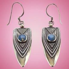 Vintage 925 Sterling Silver Blue Lapis Lazuli Pierced Dangle Earrings