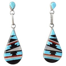 Vintage Zuni Inlay Pierced Earrings Signed Bobelu Turquoise Coral Jet Mother of Pearl