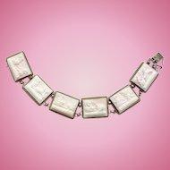 Antique 800 Silver Pink Angel Skin Carved Cameo Six Link Panel Bracelet