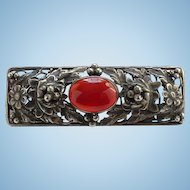 Antique Edwardian Sterling Silver Carnelian Cabochon Floral Bar Pin Hallmarked