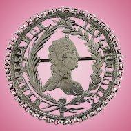 Georgian 1754-1766 Brooch Pin Queen Maria Theresia of Austria Cut Silver Coin