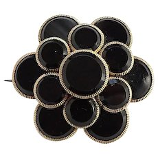 Antique Victorian Gold Filled Mourning Brooch Pin Layered Black Onyx Circles