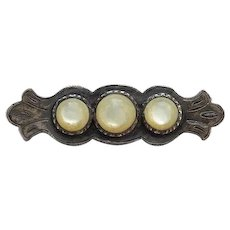 Antique Sterling Silver and Mother of Pearl Hand Made Bar Pin Brooch
