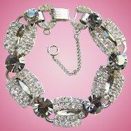 Juliana Designer Five Link Bracelet Clear Black Diamond Rhinestones Silvertone DeLizza & Elster