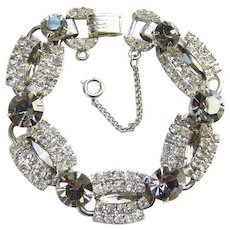 Juliana Designer Five Link Bracelet Clear Black Diamond Rhinestones Silvertone DeLizza & Elster