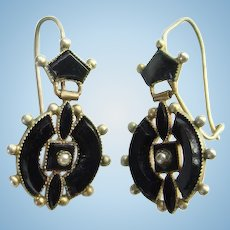 Antique Victorian Mourning Pierced Earrings 10K Gold Black Onyx Seed Pearl Hinged Dangle