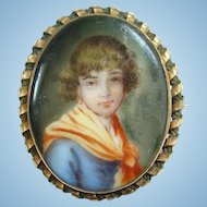 Old Hand Painted Porcelain Portrait Brooch of Girl Gold Filled Frame Victorian