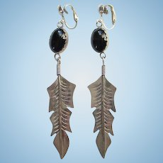 Vintage Southwestern Onyx and Sterling Silver Clip Earrings Long Feather Dangle