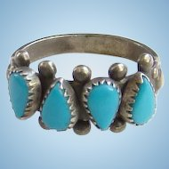 Vintage Native American Petit Point Turquoise Stacking Row Ring Marked Sterling Size 8 1/4