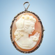 Antique Carved Shell Cameo Pendant Brooch Pin Grecian Hairstyle Gilt Over Sterling Frame
