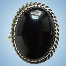 Vintage Southwestern Black Onyx Sterling Silver Ring Signed B Size 7 1/2 Handmade
