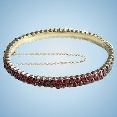 Victorian Rose Cut Bohemian Garnet Hinged Oval Bangle Bracelet Double Row
