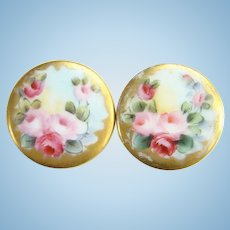 Lovely Old Hand Painted Porcelain Collar Cuff Link Stud Button Pair Pink Red Roses