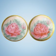 Old Hand Painted Porcelain Collar Cuff Link Stud Button Pair Large Pink Rose