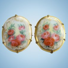 Old Hand Painted Porcelain Brass Brooch Pin Pair Five Pink Roses
