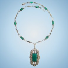 Antique Art Deco Sterling Silver Green Onyx Marcasite Pendant Necklace C1920s
