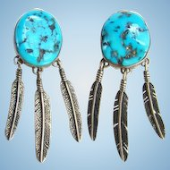 Navajo Selena Jake S.J. Morenci Turquoise Clip Earrings Signed Sterling Native American