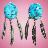 Navajo Selena Jake S.J. Morenci Turquoise Clip Earrings Signed Sterling Native American