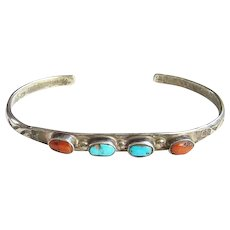 Native American Navajo Turquoise Coral Stacking Cuff Bracelet Sterling Silver Vintage