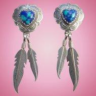 Southwestern QT 925 Sterling Azurite Malachite Pierced Earrings Heart Shape