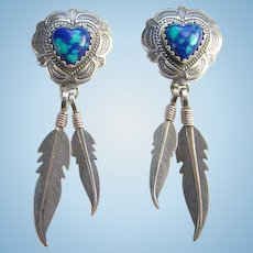 Southwestern QT 925 Sterling Azurite Malachite Pierced Earrings Heart Shape