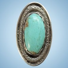 Old Signed FM or LM Handmade Oval Southwestern Turquoise Ring Size 9 3/4 Sterling Silver